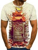 baratos Camisetas & Regatas Masculinas-Homens Camiseta Moda de Rua Pregueado / Estampado, Sólido / Geométrica / 3D Vinho
