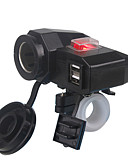 baratos Cabos de telefone celular-5 v 3.1a dual usb carregador de motocicleta isqueiro guiador braçadeira de montagem com interruptor para iphone samsung e xiaomi telefones celulares