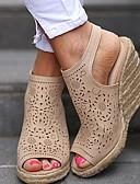 ราคาถูก ชุดเดรสพิมพ์ลาย-สำหรับผู้หญิง รองเท้าแตะ รองเท้าบู้ทส้นเตารีด ที่สวมนิ้วเท้า หัวเข็มขัด PU ฤดูร้อน ผ้าขนสัตว์สีธรรมชาติ