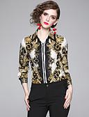 お買い得  イブニングドレス-女性用 プリント シャツ ヴィンテージ チェック ブラウン