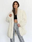 olcso Női szőrme és műszőrme kabátok-Női Napi Ősz & tél Hosszú Faux Fur Coat, Egyszínű Lehajtott gallér Hosszú ujj Műszőrme Bézs