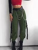 povoljno Ženske hlače-Žene Ulični šik Cargo hlače Hlače - Jednobojni Crn Vojska Green Žutomrk S M L