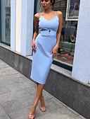 Χαμηλού Κόστους Επαγγελματικά Φορέματα-Γυναικεία Θήκη Φόρεμα - Μονόχρωμο Ως το Γόνατο
