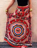 זול מכנסיים לנשים-גיאומטרי - חצאיות מקסי נדנדה בוהו בגדי ריקוד נשים אודם S M L