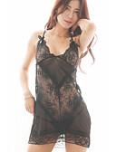 ราคาถูก สไตลตุ๊กตาเบบี้-สำหรับผู้หญิง ลูกไม้ / ตารางไขว้ ชุด เสื้อนอน สีพื้น สีดำ ขาว สีม่วง S M L