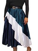 זול חצאיות לנשים-קפלים קולור בלוק - חצאיות מקסי נדנדה בסיסי בגדי ריקוד נשים כחול נייבי M L XL
