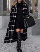 baratos Trench Coats Femininos-Mulheres Diário Outono & inverno Longo Casaco Longo, Xadrez Gola Enrolada Manga Longa Poliéster Preto
