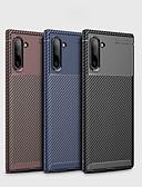 baratos Cases & Capas-Capinha Para Samsung Galaxy Nota Samsung 10 / Galaxy Note 10 Plus Antichoque / Ultra-Fina Capa traseira Sólido Fibra de carbono