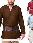 povoljno Stare svjetske nošnje-Vitez Srednjovjekovni Renesansa Povorka maski Shirt Muškarci Kostim Crn / Obala / Srebrna Vintage Cosplay Party