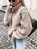baratos Suéteres de Mulher-Mulheres Sólido Manga Longa Solto Pulôver Camisola Jumper, Gola Alta Outono / Inverno Preto / Branco / Roxo S / M / L