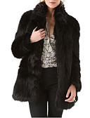 cheap Women's Fur & Faux Fur Coats-Women's Daily Basic Fall & Winter Regular Faux Fur Coat, Solid Colored Stand Long Sleeve Faux Fur Black