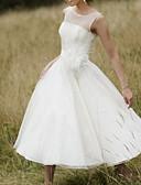 Χαμηλού Κόστους Βραδινά Φορέματα-Γραμμή Α Με Κόσμημα Midi Τούλι Κανονικοί ιμάντες Φορέματα γάμου φτιαγμένα στο μέτρο με Φτερά / Γούνα / Ζωνάρια / Κορδέλες 2020