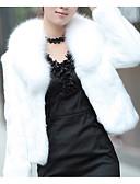 Χαμηλού Κόστους Φορέματα Χορού Αποφοίτησης-Γυναικεία Καθημερινά Βασικό Κοντό Faux Fur Coat, Μονόχρωμο Turndown Μακρυμάνικο Ψεύτικη Γούνα Μαύρο / Λευκό
