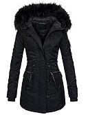 olcso Női hosszú kabátok és parkák-Női Egyszínű Hosszú Kosaras, Poliészter Fekete / Rubin S / M / L