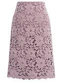 baratos Saias Femininas-Mulheres Básico Evasê Saias - Geométrica Renda Preto Azul Claro Roxo M L XL