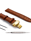 זול רצועת שעונים-עור אמיתי / עור / Calf Hair צפו בנד רצועה ל שחור / חום 17cm / 6.69 אינץ ' / 18cm / 7 אינצ'ים / 19cm / 7.48 אינצ'ים 1.2cm / 0.47 אינצ'ים / 1.4cm / 0.55 אינצ'ים / 1.6cm / 0.6 אינצ'ים