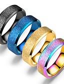 baratos Relógios da Moda-Homens Mulheres Anel de banda Anel Anel da cauda 1pç Preto Arco-íris Azul Aço Inoxidável Circular Vintage Básico Fashion Diário Jóias