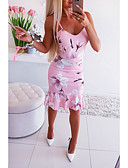 baratos Vestidos-Mulheres Básico Rodado Vestido - Estampado, Floral Altura dos Joelhos