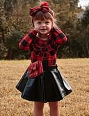 ราคาถูก ชุดเด็กผู้หญิง-เด็ก เด็กผู้หญิง ซึ่งทำงานอยู่ พื้นฐาน สวมใส่ทุกวัน สีดำและสีแดง สีพื้น คริสมาสต์ โบว์ ระบาย แขนยาว ปกติ ปกติ ฝ้าย ชุดเสื้อผ้า ทับทิม