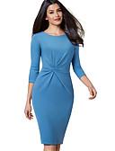 Χαμηλού Κόστους Επαγγελματικά Φορέματα-Γυναικεία Κομψό στυλ street Εκλεπτυσμένο Εφαρμοστό Θήκη Φόρεμα - Μονόχρωμο, Πλισέ Ως το Γόνατο