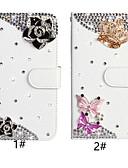 baratos Cases & Capas-Capinha Para Samsung Galaxy A6 (2018) / A6+ (2018) / Galaxy A7(2018) Carteira / Porta-Cartão / Com Strass Capa Proteção Completa Borboleta / Flor PU Leather