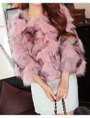 povoljno Stole za vjenčanje-Žene Party / Klub Sexy / Sofisticirano Zima Kratak Faux Fur Coat, Jednobojni / Color block Okrugli izrez 3/4 rukava Umjetno krzno / Fox krzna Kolaž Blushing Pink / purpurna boja / Žutomrk