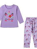 cheap Girls' Dresses-Kids Toddler Girls' Basic Street chic Daily Cartoon Long Sleeve Long Clothing Set Purple