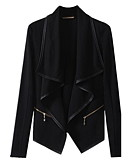 olcso Zakók-Női Napi Alap Tavasz / Ősz Extra méret Szokványos kimono Jacket, Egyszínű Térfogatcsökkenés Hosszú ujj Poliészter Fekete