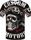 baratos Camisetas & Regatas Masculinas-Homens Tamanho Europeu / Americano Camiseta Rock Estampado, Caveiras Decote Redondo Preto e Vermelho Preto / Manga Curta