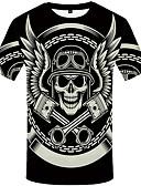 baratos Camisetas & Regatas Masculinas-Homens Camiseta Militar Estampado, Caveiras Preto & Branco Preto