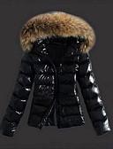olcso Női hosszú kabátok és parkák-Női Egyszínű Kosaras, Poliészter Fekete S / M / L