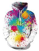 baratos Abrigos e Moletons Masculinos-Homens Casual / Básico Moletom Estampa Colorida / 3D / Tie Dye