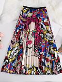 זול חצאיות לנשים-דפוס קולור בלוק - חצאיות גזרת A בסיסי בגדי ריקוד נשים פול אודם מידה אחת