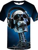 povoljno Muške majice s kapuljačom i trenirke-Majica s rukavima Muškarci - Boho Dnevno Lubanje Print Blue & White Navy Plava