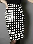 Χαμηλού Κόστους Γυναικεία σετ δυο τεμαχίων-Γυναικεία Εφαρμοστό Φούστες - Καρό Λευκό Κίτρινο Τ M L