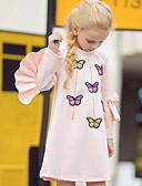 Χαμηλού Κόστους Παιδικά Καπέλα-Νήπιο Κοριτσίστικα Ενεργό Ζώο Στάμπα Μακρυμάνικο Πάνω από το Γόνατο Φόρεμα Ανθισμένο Ροζ