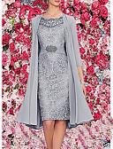 Χαμηλού Κόστους Κοστούμια-Γυναικεία Κομψό Δαντέλα Ντε Πιες Φόρεμα - Μονόχρωμο, Στάμπα Ως το Γόνατο