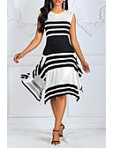 billige Jumpsuits og sparkebukser til damer-Dame Bomull Swing Kjole - Stripet Maksi