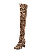 billige Todelt dress til damer-Dame Støvler Over-The-Knee Boots Tykk hæl Spisstå Elastisk stoff Lårhøye støvler Klassisk / minimalisme Vår / Høst vinter Svart / Leopard / Lilla
