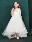 זול שמלות לילדות פרחים-נסיכה באורך הקרסול שמלה לנערת הפרחים  - תחרה / אורגנזה / טפטה חצי שרוול סירה רחב עם תחרה על ידי LAN TING Express