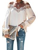 baratos Blusas Femininas-Mulheres Camisa Social Básico Renda, Sólido Preto
