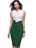 Χαμηλού Κόστους Επαγγελματικά Φορέματα-Γυναικεία Εκλεπτυσμένο Κομψό Εφαρμοστό Θήκη Φόρεμα - Μονόχρωμο Συνδυασμός Χρωμάτων, Patchwork Ως το Γόνατο Ασπρόμαυρο
