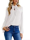 billige Bluser-Skjorte Dame - Ensfarget, Lapper Gatemote Svart / Hvit / Blå Svart
