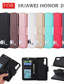 baratos Capinhas para Huawei-Capinha Para Huawei Honra 20 Carteira / Porta-Cartão / Com Suporte Capa Proteção Completa Sólido / Gato / Desenho Animado PU Leather
