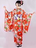 billige Leather Watch Band-Geisha Voksne Dame Cosplay Kimonoer Kjoler Cosplay Kostumer Japansk Kimono Til Fest Halloween Festival Polyester Halloween Karneval Maskerade Kjole Belte / bånd
