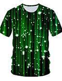ราคาถูก เสื้อยืดและเสื้อกล้ามผู้ชาย-สำหรับผู้ชาย เสื้อเชิร์ต Street Chic รอยจีบ / ลายพิมพ์ 3D สีน้ำเงิน &สีขาว สีน้ำเงิน