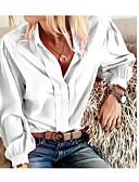 ราคาถูก เสื้อเอวลอยสำหรับผู้หญิง-สำหรับผู้หญิง เชิร์ต สีพื้น ขาว