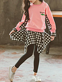 cheap Girls' Clothing Sets-Kids Toddler Girls' Basic Street chic Casual / Daily Athleisure Print Plaid Layered Embroidered Long Sleeve Short Short Clothing Set Blushing Pink