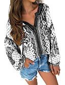 billige Bluser-Bluse Dame - Geometrisk, Trykt mønster Grunnleggende Hvit