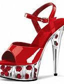 baratos Camisas Masculinas-Mulheres Sandálias Salto Cone Peep Toe Cristais / Tachas PVC / Couro Ecológico Clássico / Minimalismo Verão Rosa e Branco / Claro / Branco / Festas & Noite / Estampa Colorida